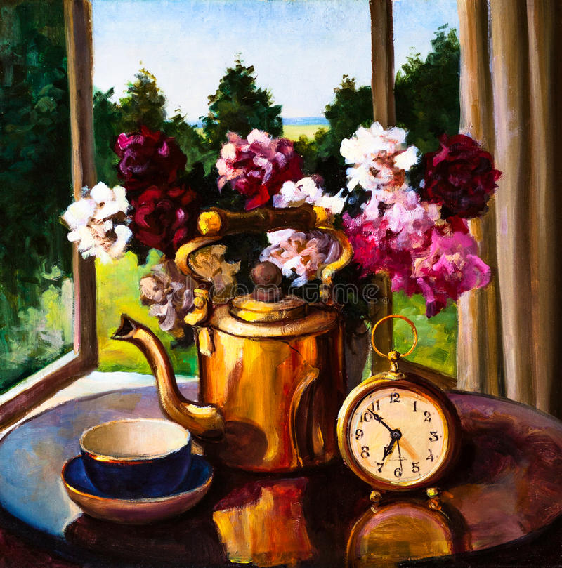 油画-静物画,花花束,时钟 库存例证
