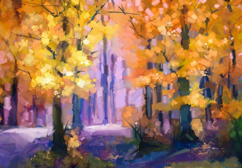 油画风景-五颜六色的秋天树 皇族释放例证