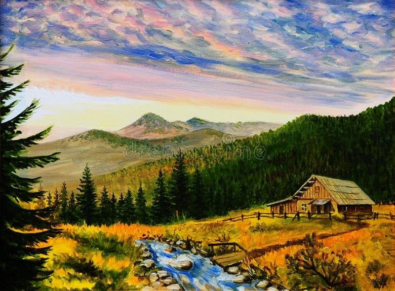 油画风景-在山的日落,村庄房子 皇族释放例证