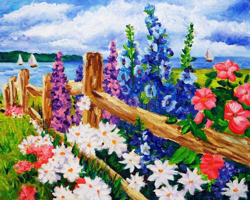 油画-风景 向量例证