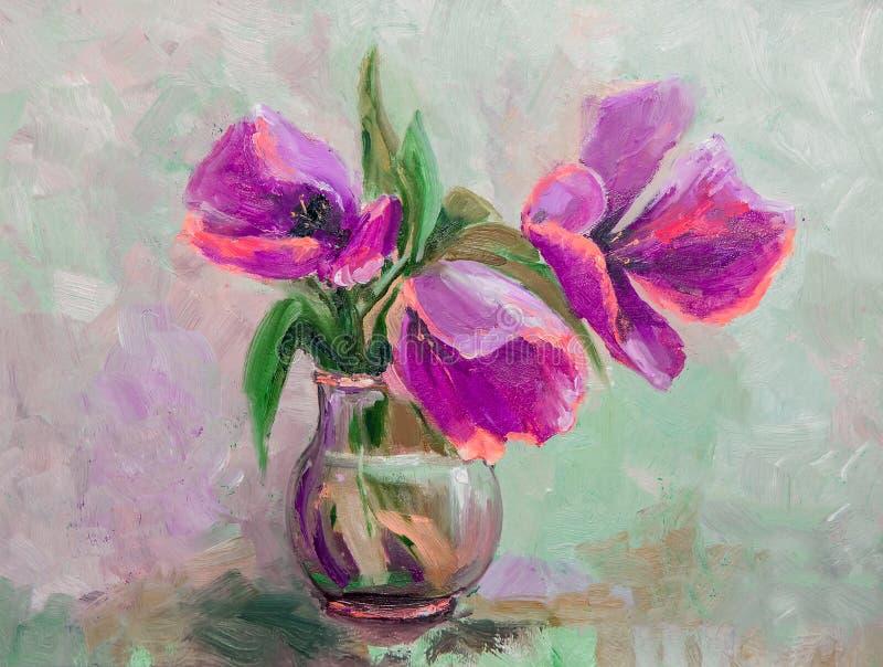 油画,印象主义样式,纹理绘画,花stil 向量例证