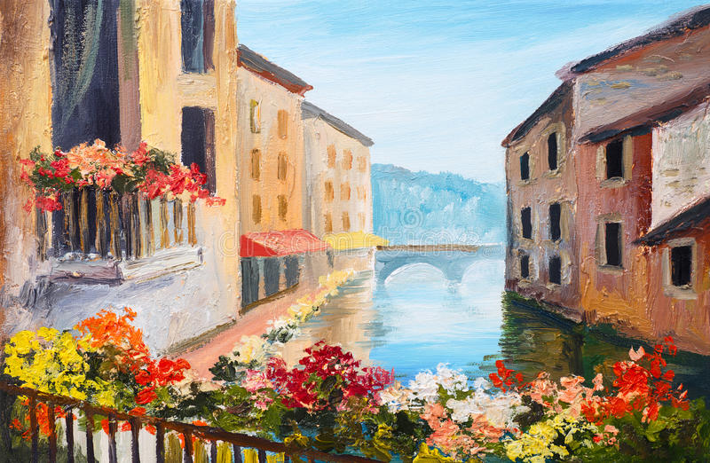 油画,运河在威尼斯,意大利,著名旅游地方 向量例证