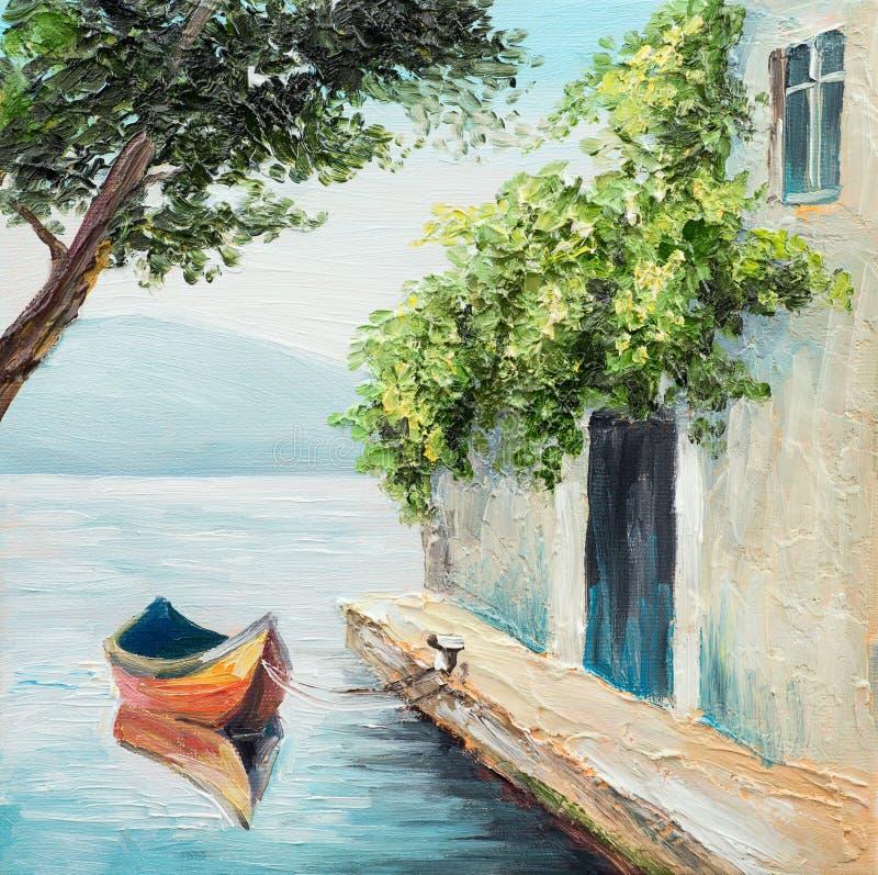 油画,长平底船在威尼斯,美好的夏日在意大利 向量例证