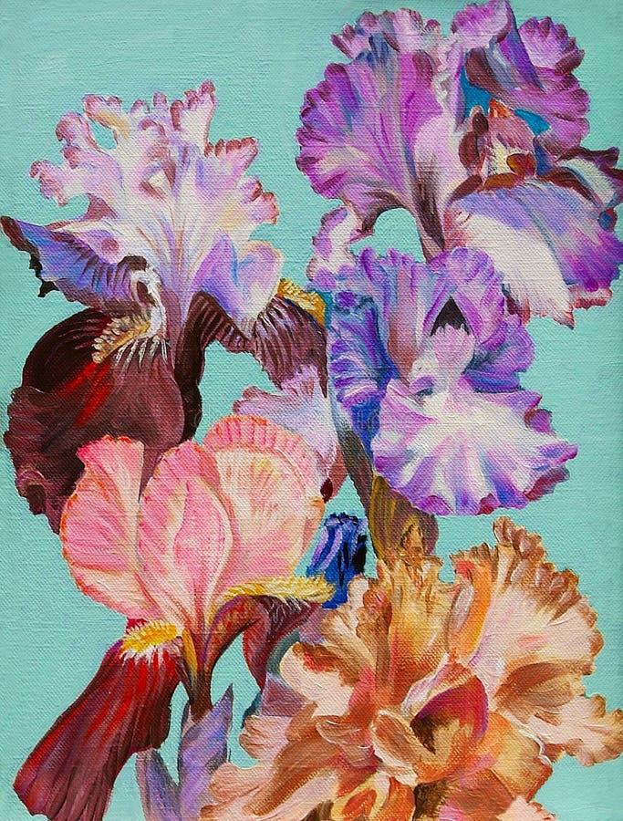 油画,水彩开花虹膜,五颜六色的艺术 皇族释放例证
