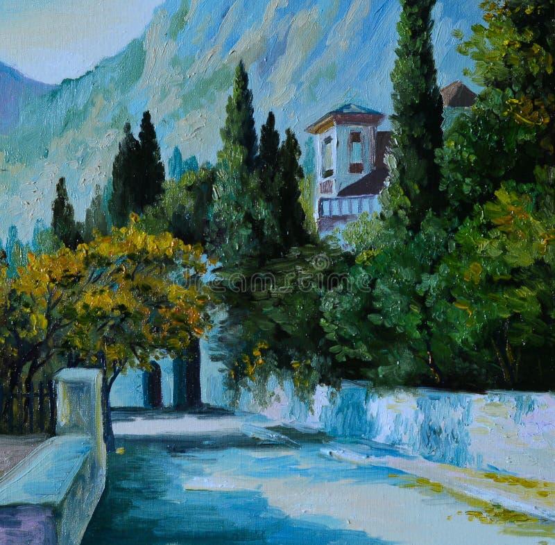 油画- cityin山,树围拢的路 皇族释放例证
