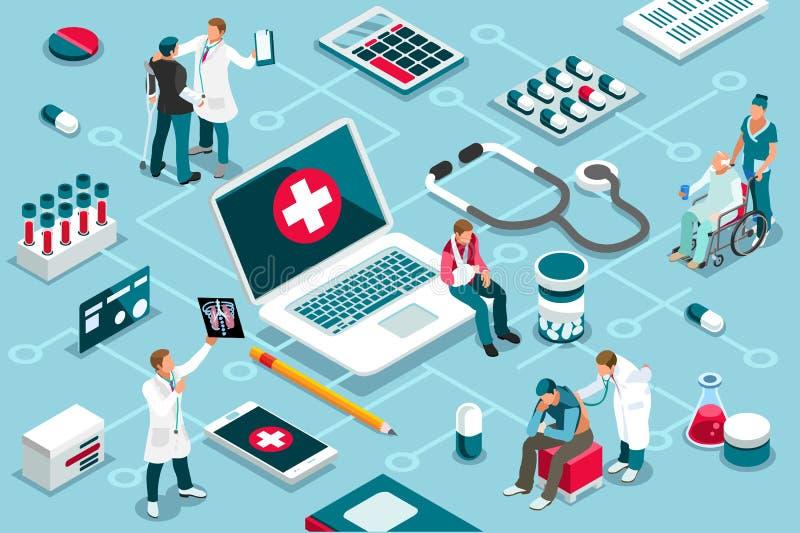 治疗诊所协助医学为患者服务 向量例证