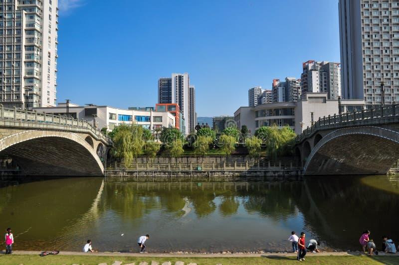 沼泽地公园和现代城市 免版税图库摄影