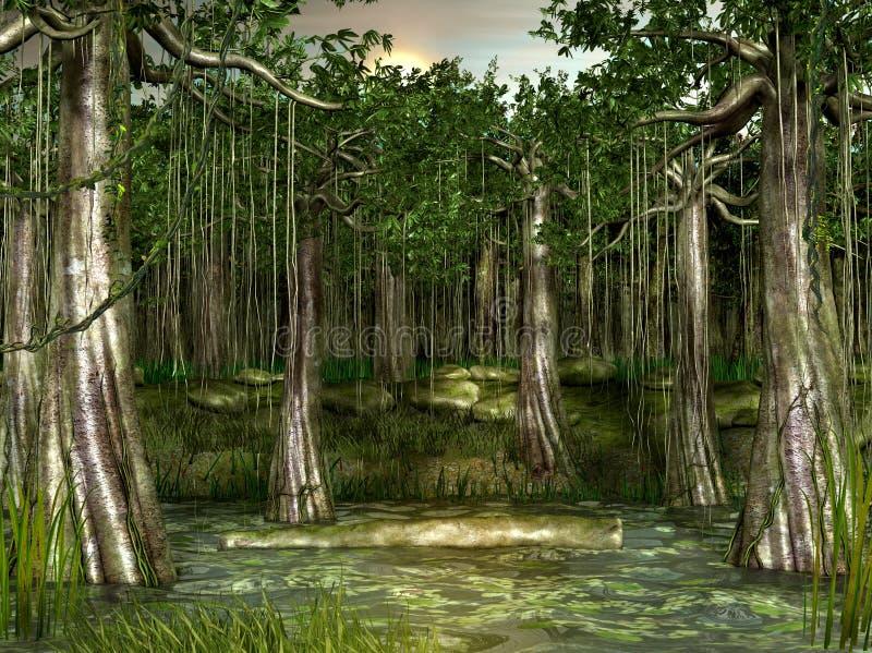 沼泽-树木丛生的沼泽地视图 库存例证