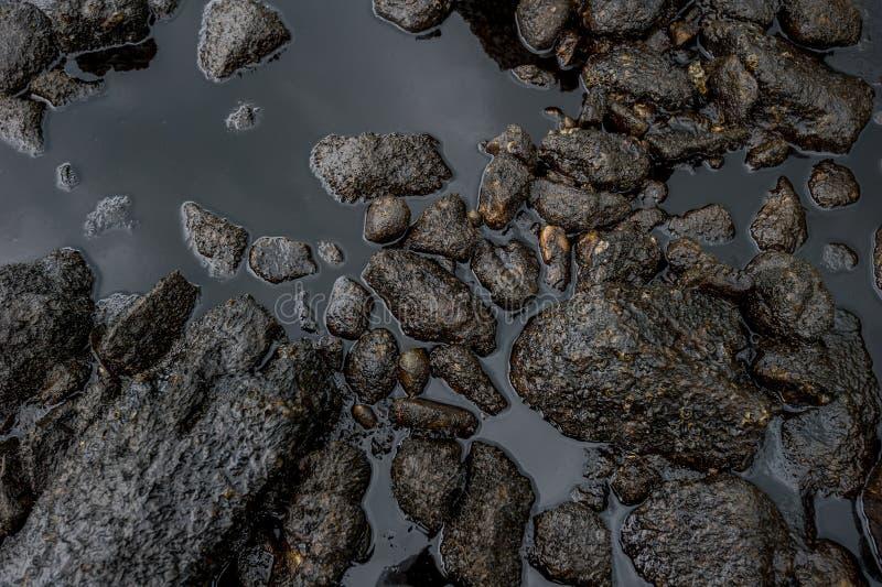 沾染海的油泥在漏油灾害期间在阁沙梅岛海岛,罗勇,泰国 图库摄影
