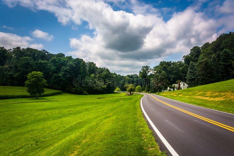 沿一条乡下公路的农田在农村卡洛尔县, Maryla 图库摄影