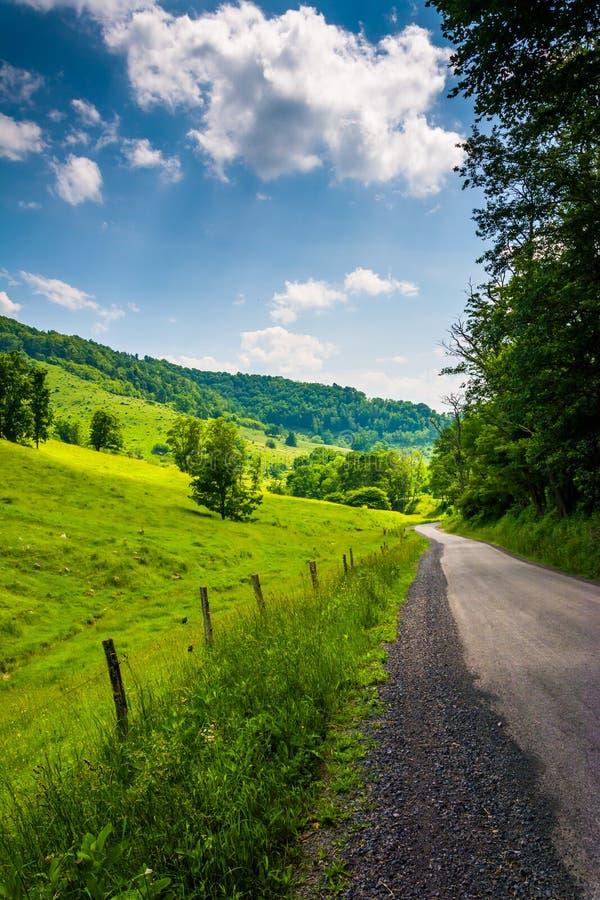 沿一条土路的农田在农村波托马克高地  免版税库存照片