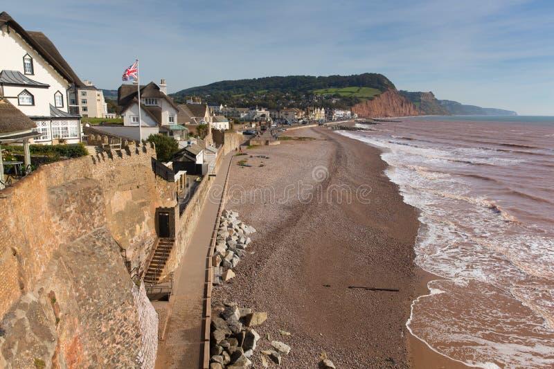 沿侏罗纪海岸的Sidmouth海滩和海岸德文郡英国英国景色 免版税库存图片