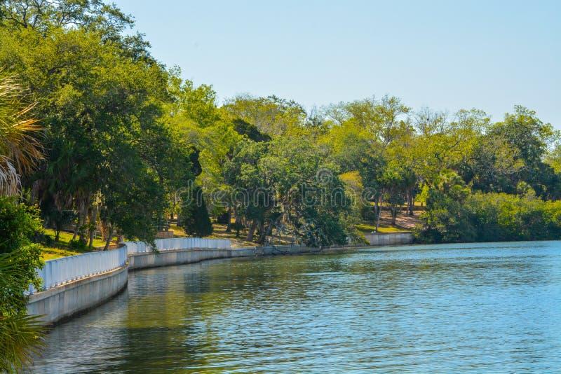 沿坦帕湾的走道菲利普公园的在安全港口,佛罗里达 库存图片