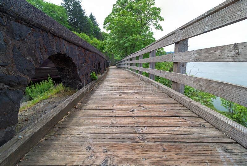 沿威拉米特河的木板走道 免版税库存图片