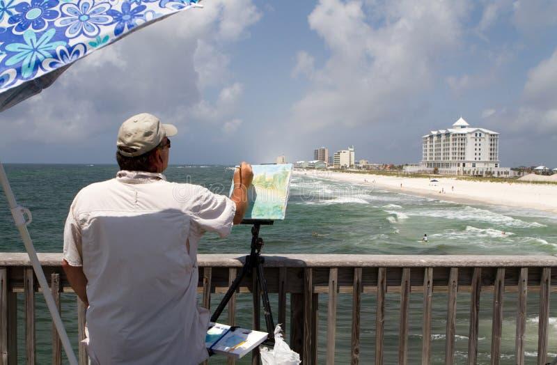 沿岸陆地艺术家的绘画 免版税库存照片
