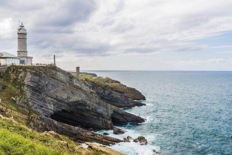 沿峭壁的岩石海岸线在桑坦德,西班牙 库存照片