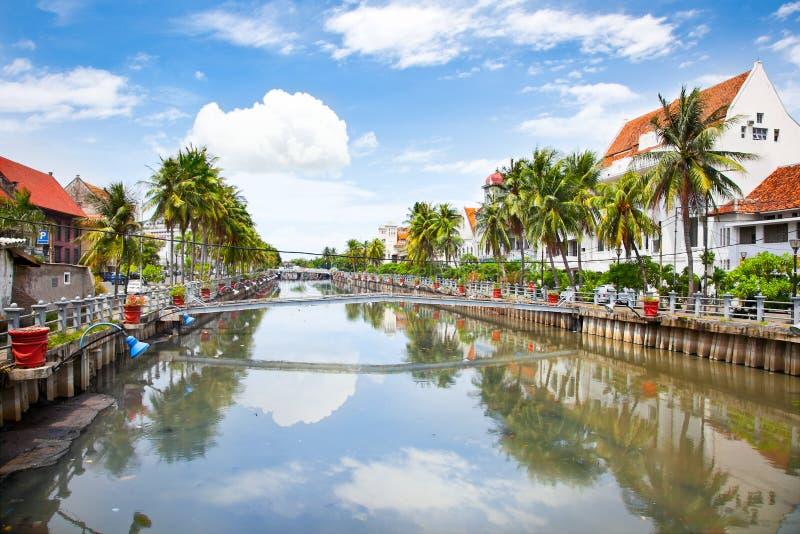 沿有臭味的河的雅加达老镇。Java。印度尼西亚。 免版税库存照片