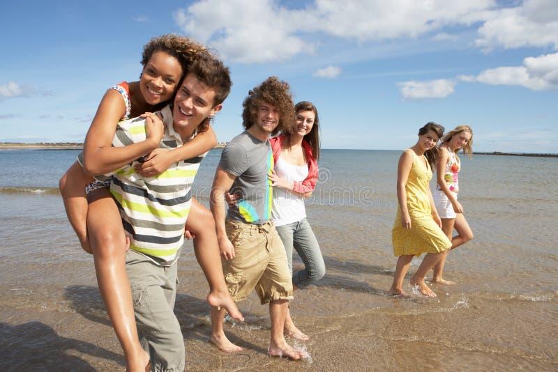 沿朋友组走的年轻人 库存照片