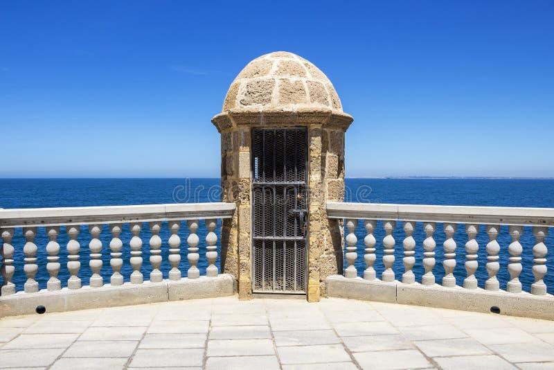 沿海地带散步在卡迪士,西班牙 免版税图库摄影