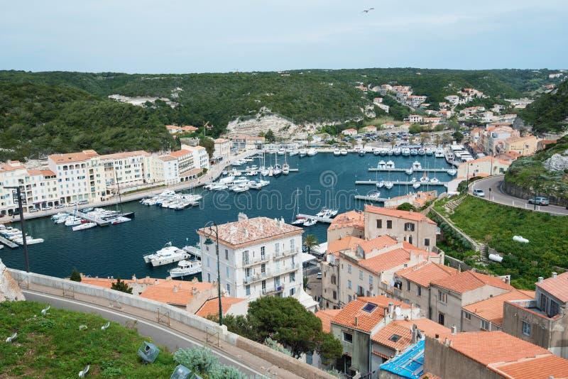 沿海城市Bonifacio的低部 库存图片