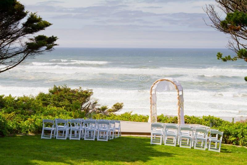 沿海婚礼培训地点 免版税库存图片