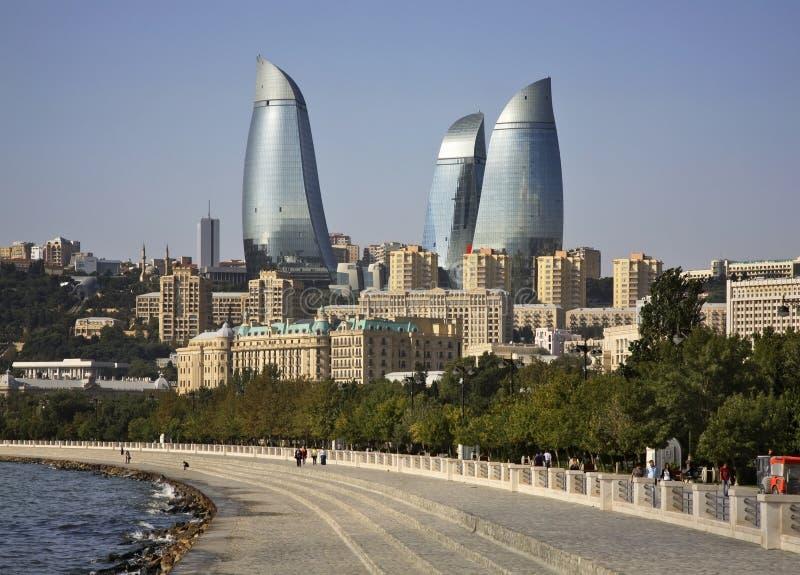沿海岸区在巴库镇 阿塞拜疆 库存图片