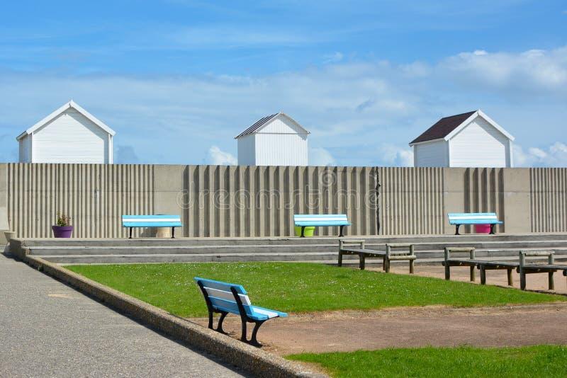 沿海岸区木板走道在滨海圣奥班在凯恩卡尔瓦多斯区在Basse Normandie法国西北部 库存图片