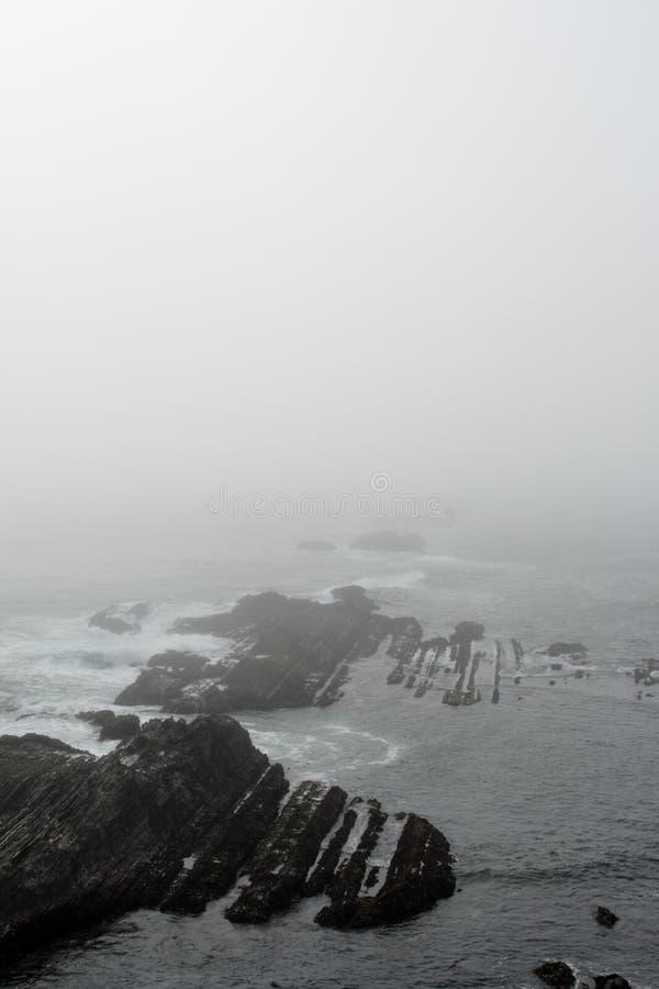 沿海岸线有雾的形成岩石 免版税库存照片