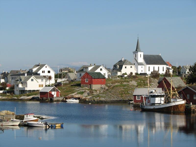 沿海挪威村庄 图库摄影