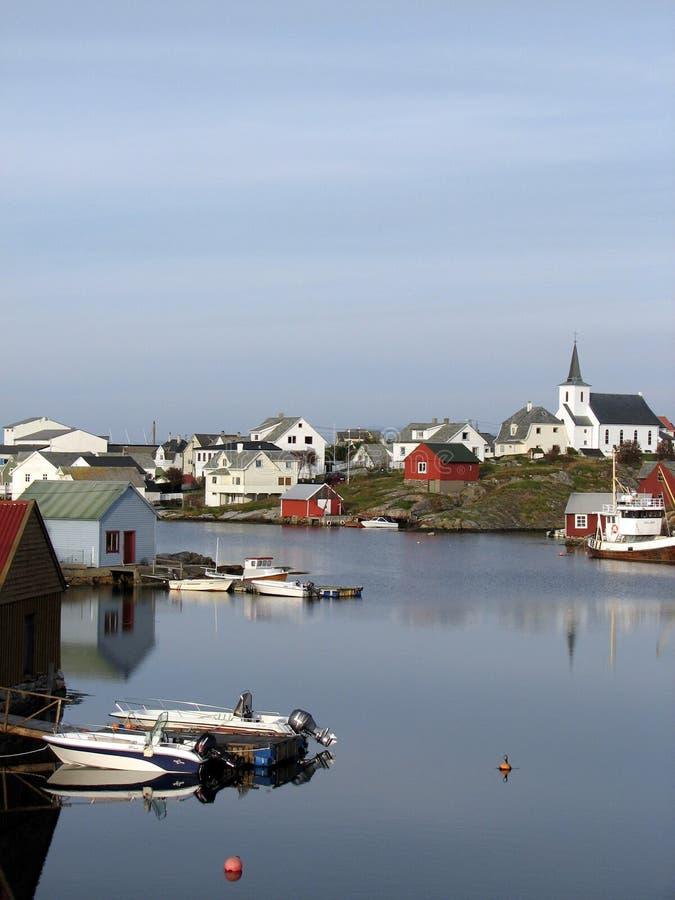 沿海挪威村庄 库存照片