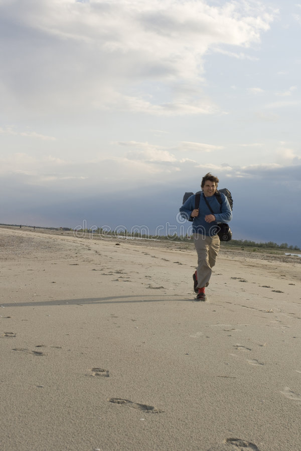 沿海滩运行中 库存照片