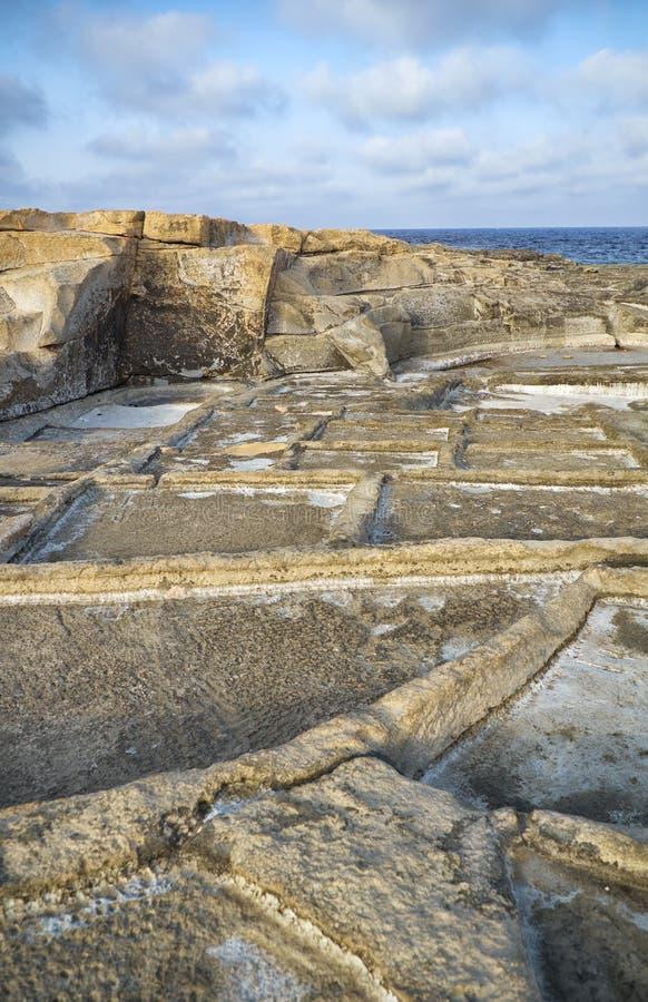 沿海盐平底锅 马尔萨斯卡拉,马耳他 库存图片