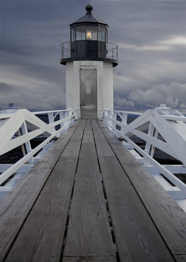 沿海缅因灯塔 免版税图库摄影