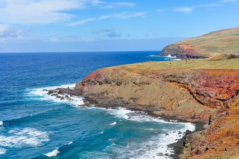沿海风景在复活节岛,智利 免版税库存照片