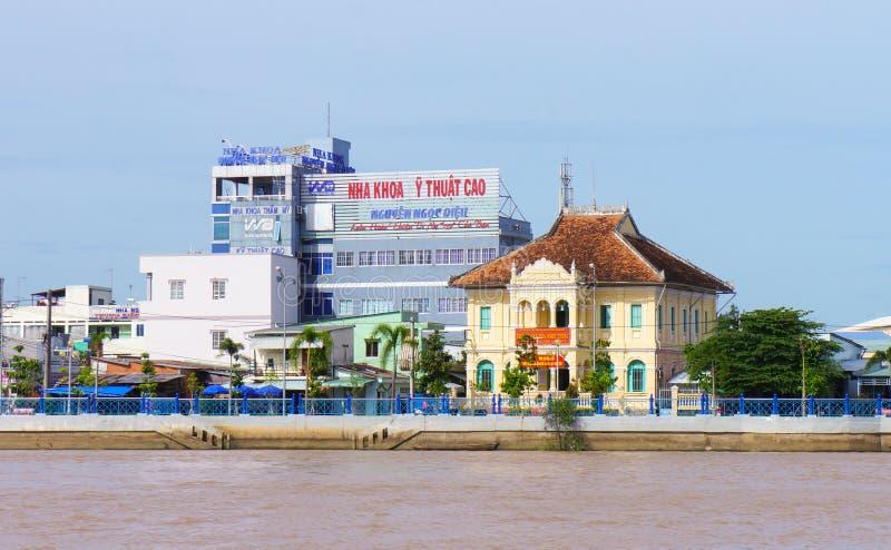 沿湄公河的海滨房子 免版税库存图片