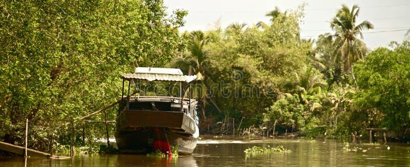沿湄公河,越南的小船 库存图片