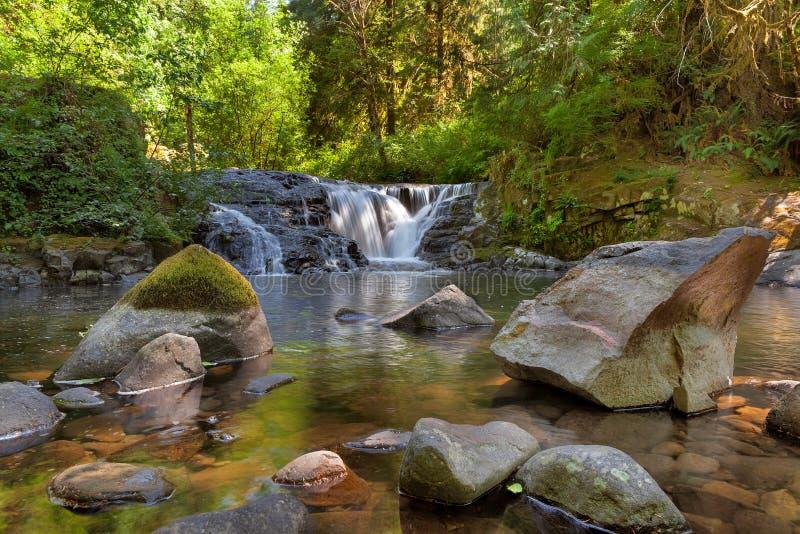沿甜小河的瀑布在俄勒冈 免版税库存图片