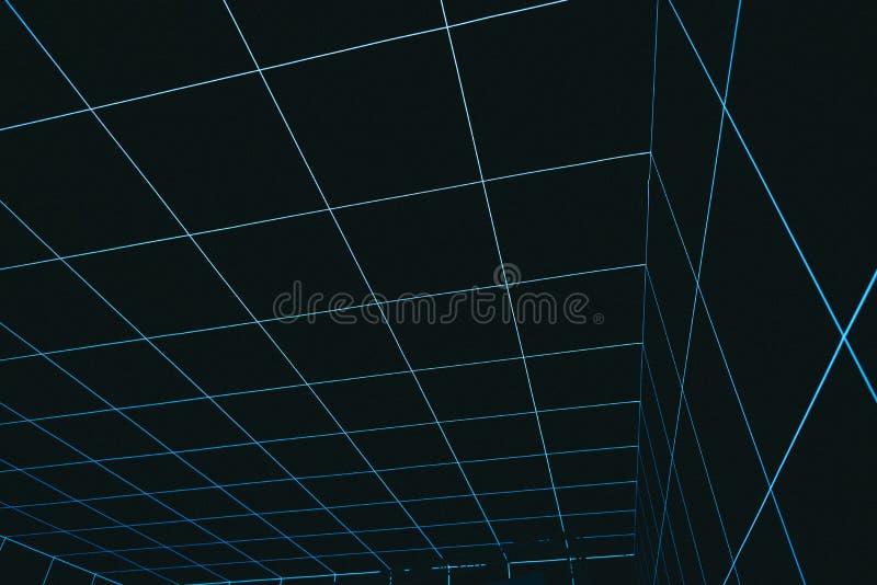 沿着走背景的凉快的抽象虚拟现实空间 免版税库存照片