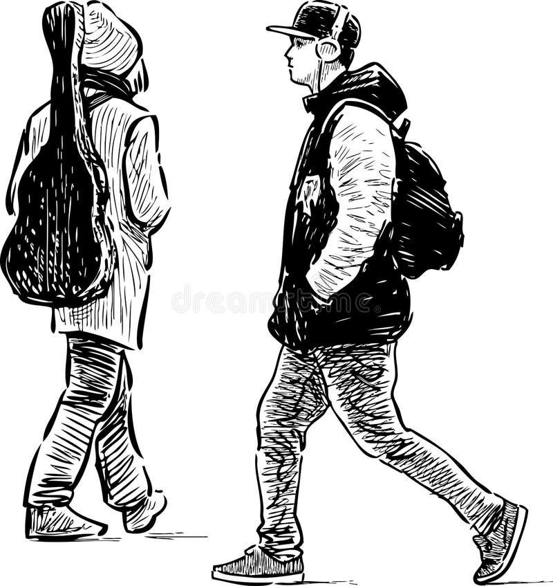 沿着走街道的偶然年轻人 皇族释放例证