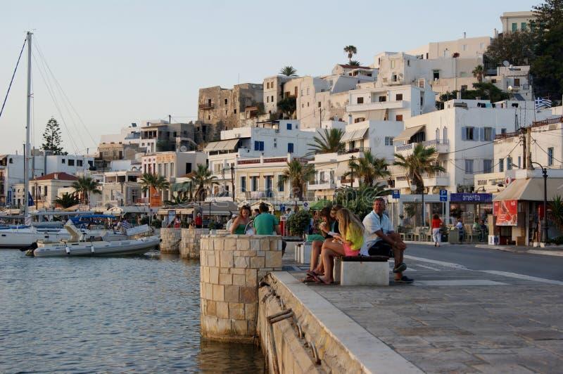 沿纳克索斯,希腊江边的晚上 库存照片