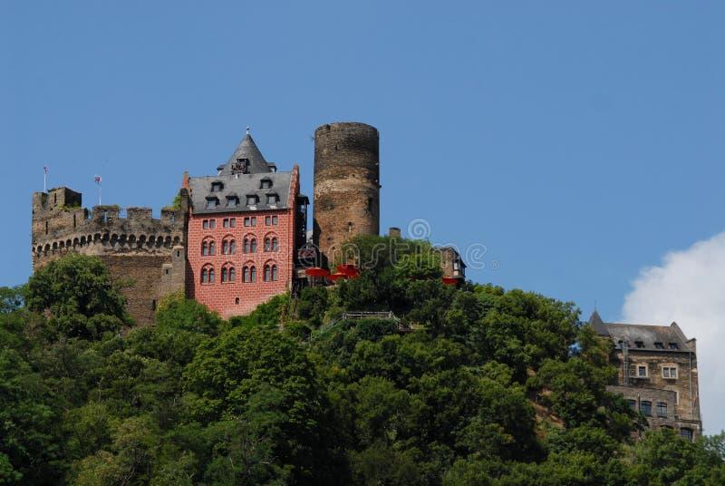 沿莱茵河谷的雄伟城堡在德国 库存图片