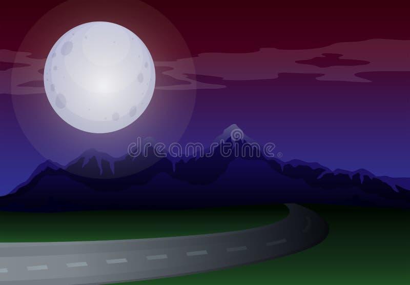 沿路的月光风景 库存例证