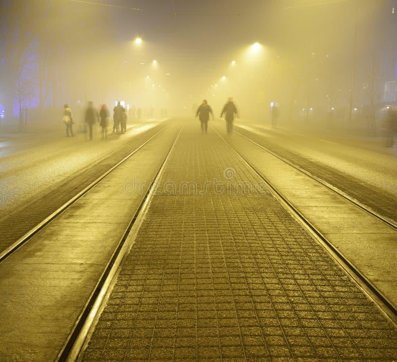 沿路面的步行在夜街道上在Helsink 库存图片