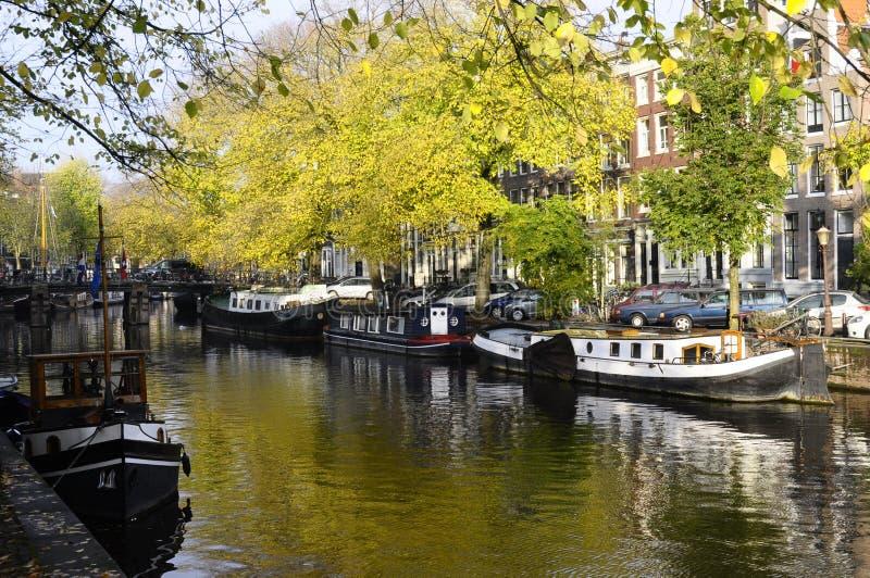 沿运河的游艇在阿姆斯特丹,荷兰 图库摄影