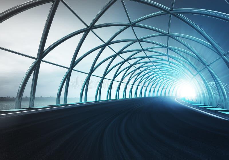 沿速度轨道的钢曲拱建筑在行动 向量例证