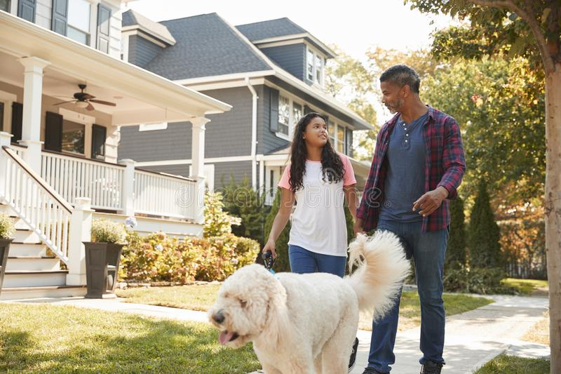 沿郊区街道的父亲和女儿走的狗 免版税库存图片