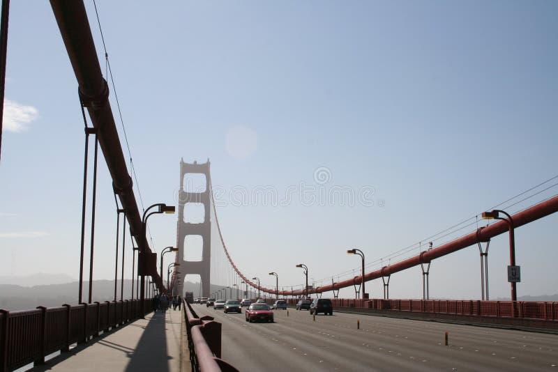 沿金门海峡桥梁的步行 库存照片