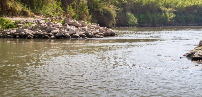 沿银行,约旦河的灌木 免版税库存图片