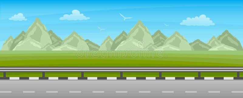 沿领域和山风景的路 库存例证