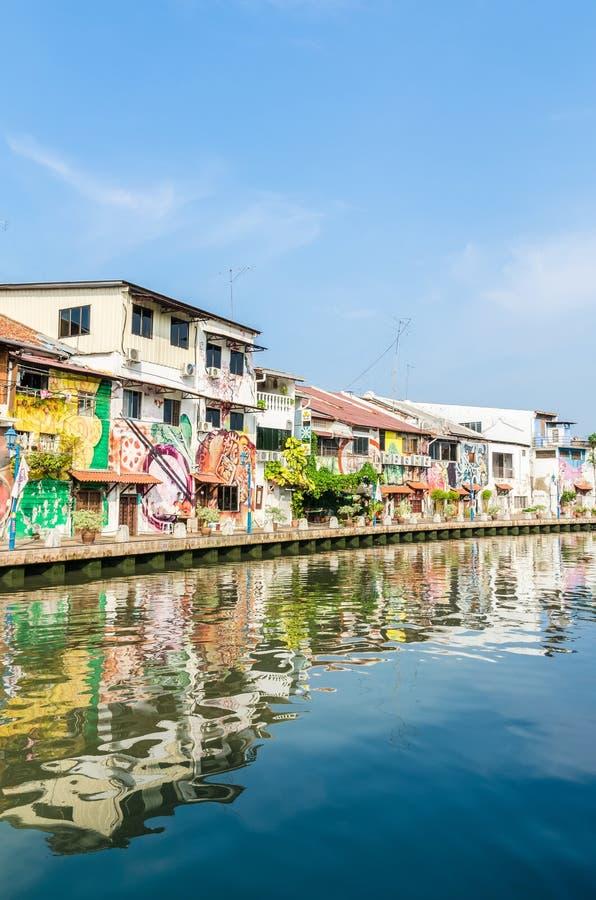 沿马来西亚马六甲河的河沿风景,它被列出了当联合国科教文组织世界 库存照片